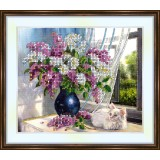 Bead embroidery kit «A-0172 White Cat by the Lilacs»