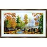 Bead embroidery kit «A-0182 The Bridge in Autumn»