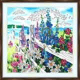 Bead embroidery kit «A-0363 Hollyhocks on the Fenceline»