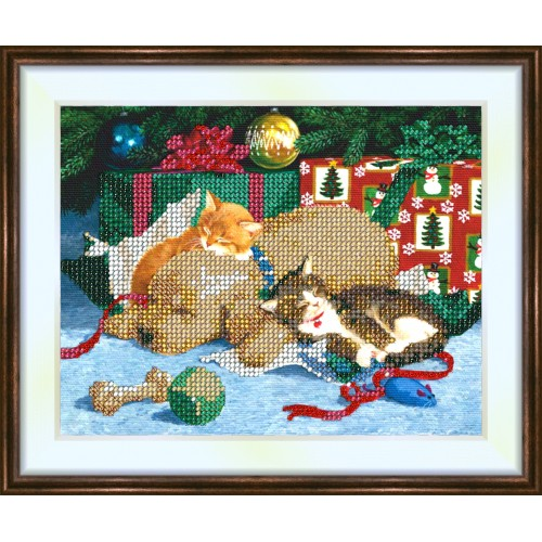 Bead embroidery kit «K-0121 The Pets Enjoying Christmas»