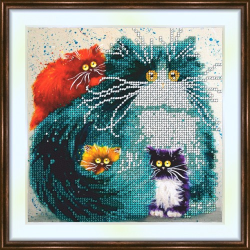 Bead embroidery kit «K-0131 Fluffy Colorful Kitties»