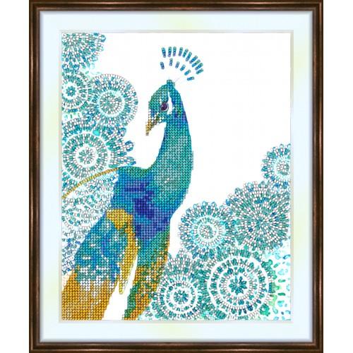 Bead embroidery kit «K-0141 Peacock Filigree»