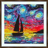 Cross stitch kit «S-0039 Sailboat in the Starry Night»