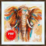 Cross stitch pattern «pdf-S-0002 Colorfull Elephant»