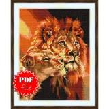 Cross stitch pattern «pdf-S-0012 The Lion Pair»