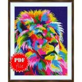 Cross stitch pattern «pdf-S-0043 Rainbow Lion»