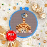 Cross stitch pattern «pdf-T-0042 Ginger Tabby With a Bow»