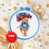 Cross stitch pattern «pdf-T-0072 Miss Polka Dot»