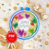 Cross stitch pattern «pdf-T-0082 Happy Birthday 6»