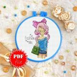 Cross stitch pattern «pdf-T-0102 Fashion Girl»