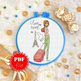 Cross stitch pattern «pdf-T-0122 I Love Travel»