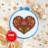 Cross stitch pattern «pdf-T-0142 Burgeoning Heart»