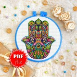 Cross stitch pattern «pdf-T-0205 Mandala Hamsa»