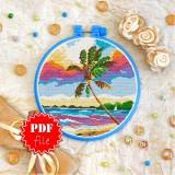 Cross stitch pattern «pdf-T-0228 Palm Tree Seaview»