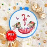 Cross stitch pattern «pdf-T-0261 Bunnies in an Umbrella»