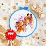Cross stitch pattern «pdf-T-0305 Mother and Child Foxes»