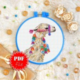 Cross stitch pattern «pdf-T-0340 Bedecked Llama»