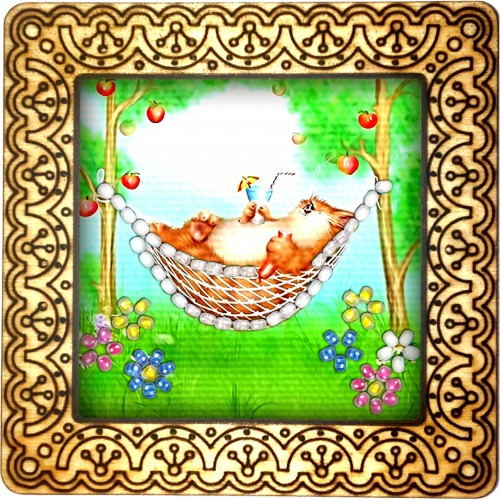 Magnet bead embroidery kit «M-0060 Afternoon Snooze»