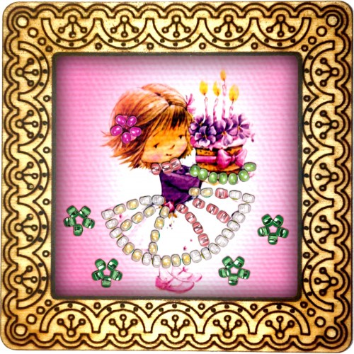 Magnet bead embroidery kit «M-0120 4-year Old Birthday»