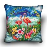 Pillow cross stitch kit «H-0037 Flashy Flamingos»