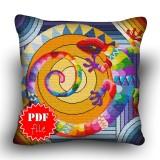 Pillow Cross stitch pattern «pdf-H-0003 Rainbow Lizard»