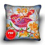 Pillow Cross stitch pattern «pdf-H-0023 Peppy Pink Bird»