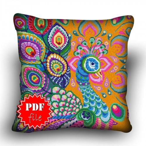 Pillow Cross stitch pattern «pdf-H-0033 Pensive Peacock»