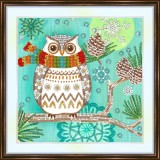 Bead embroidery kit «A-0233 Owl with Pinecones»
