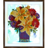 Bead embroidery kit «A-0304 Boquet in a Square Vase»