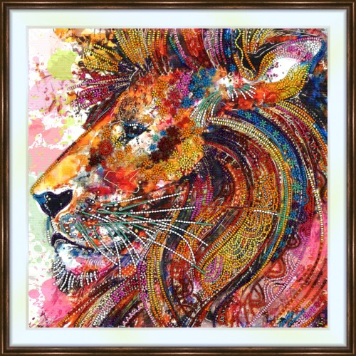 Bead embroidery kit «A-0394 Colorful Lion»