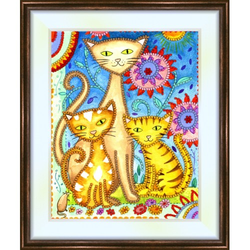 Bead embroidery kit «K-0092 Momma Cat with her Kittens»