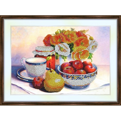 Bead embroidery kit «K-0122 Fruit Awaiting Coffee»
