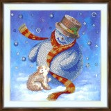 Bead embroidery kit «K-0193 Snowman and the Baby Bear»