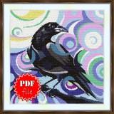 Cross stitch pattern «pdf-S-0034 Stylized Raven»