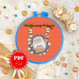 Cross stitch pattern «pdf-T-0043 Hedgehog Swing»