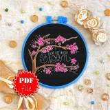 Cross stitch pattern «pdf-T-0103 Live Life in Full Bloom»