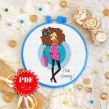 Cross stitch pattern «pdf-T-0113 I Love Shopping»