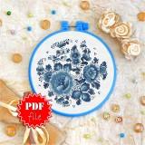 Cross stitch pattern «pdf-T-0143 Blue Flowers»