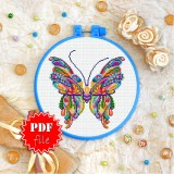 Cross stitch pattern «pdf-T-0163 Mandala Butterfly»