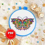 Cross stitch pattern «pdf-T-0175 Mandala Butterfly»