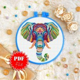 Cross stitch pattern «pdf-T-0185 Mandala Elephant»