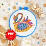 Cross stitch pattern «pdf-T-0206 Mandala Swan»