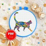 Cross stitch pattern «pdf-T-0218 Mandala Cat»