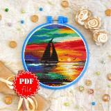 Cross stitch pattern «pdf-T-0229 Sea Sunset»