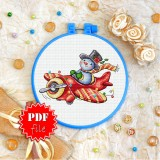 Cross stitch pattern «pdf-T-0241 Christmas Snowman»