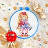 Cross stitch pattern «pdf-T-0331 Little Fashion Girl»