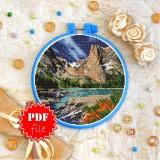 Cross stitch pattern «pdf-T-0402 Rocky Mountain View»