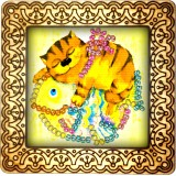 Magnet bead embroidery kit «M-0011 The Cat and the Fish»