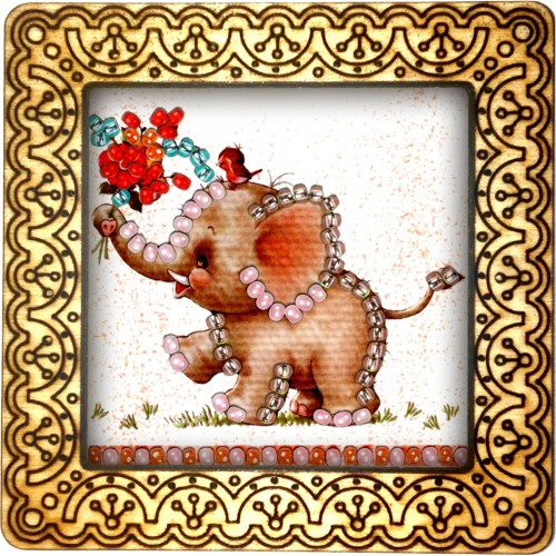 Magnet bead embroidery kit «M-0021 Baby Elephant with Flowers»
