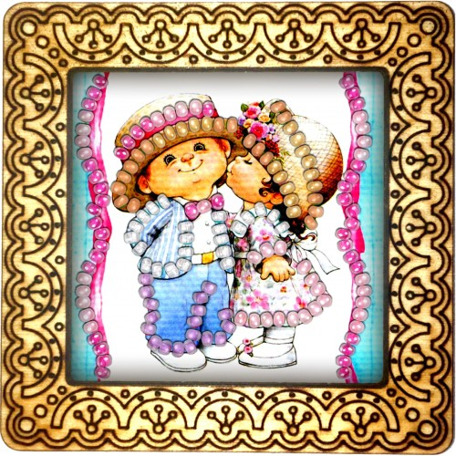 Magnet bead embroidery kit «M-0031 Kissin'Cousins»